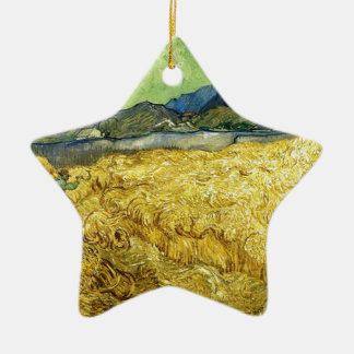 Wheat Fields with Reaper at Sunrise - Van Gogh Ceramic Star Decoration
