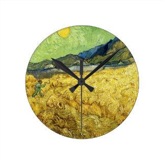 Wheat Fields with Reaper at Sunrise - Van Gogh Clocks
