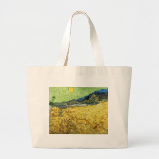 Wheat Fields with Reaper at Sunrise - Van Gogh Large Tote Bag