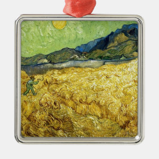 Wheat Fields with Reaper at Sunrise - Van Gogh Silver-Colored Square Decoration
