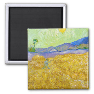 Wheat Fields with Reaper at Sunrise Van Gogh Square Magnet