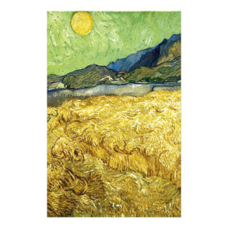 Wheat Fields with Reaper at Sunrise - Van Gogh Stationery Design