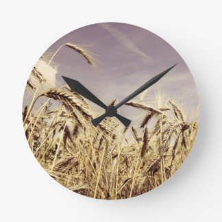 Wheat In The Wind Design Wall Clocks