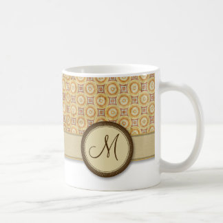 Wheat Sand Coin Pattern with Monogram Coffee Mug