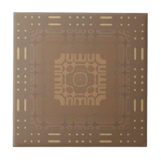 Wheat Square Geometric 2 Ceramic Tile
