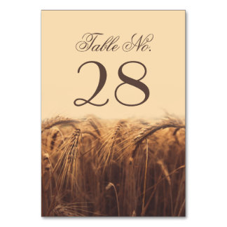 Wheat table number cards