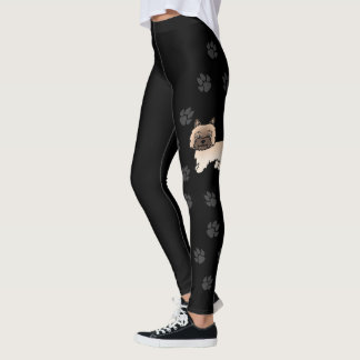 Wheaten Cairn Terrier Cartoon Dog With Paws Black Leggings