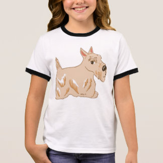 Wheaten Scottie Dog Girl's Ringer T-Shirt