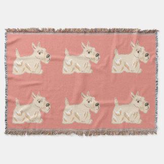 Wheaten Scottie Dogs Warm Peach Throw Blanket