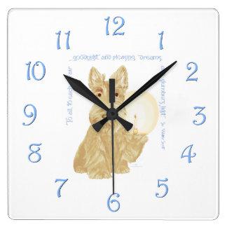 Wheaten Scottie Goodnight Square Wall Clock