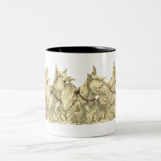Wheaten Scotties All in a Row Two-Tone Coffee Mug