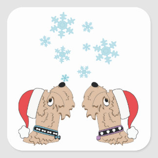 Wheaten Terrier Christmas Wrapping Square Sticker