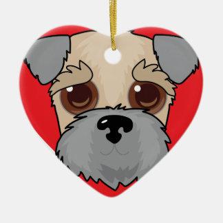 Wheaten Terrier Face Ceramic Heart Decoration