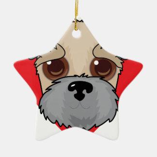 Wheaten Terrier Face Ceramic Star Decoration