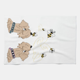 Wheatens and Bees Tea Towel
