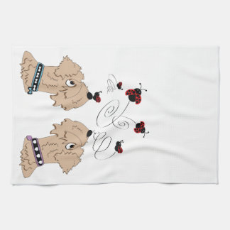Wheatens and Ladybirds Tea Towel