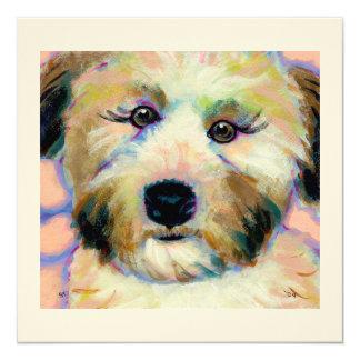 Wheatens Mean Business - fun dog art cards 13 Cm X 13 Cm Square Invitation Card