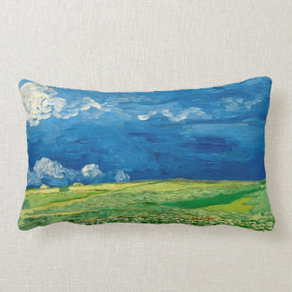 Wheatfield Under Thunderclouds by Vincent van Gogh Lumbar Cushion