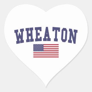 Wheaton US Flag Heart Sticker