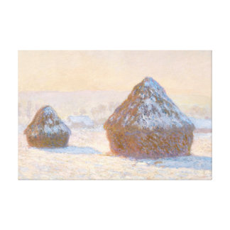 Wheatstacks, Snow Effect, Morning Stretched Canvas Print