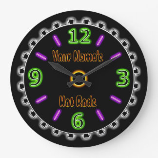 Wheel Cool Faux Neon #2 (Personalised Wall Clock) Large Clock