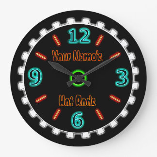Wheel Cool Faux Neon (Personalised) Large Clock