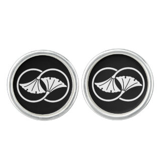 Wheel difference ginkgo cufflinks