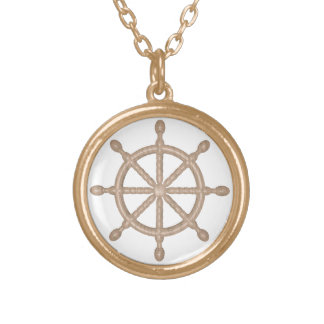 wheel gold plated necklace
