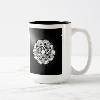 'Wheel of Black Sunshine' Two-Tone Mug