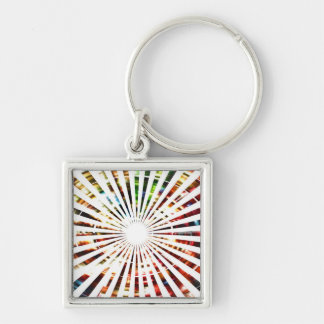 Wheel of Fortune - Sparkle Red Designs Silver-Colored Square Key Ring