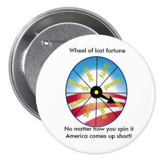 Wheel of lost fortune 7.5 cm round badge