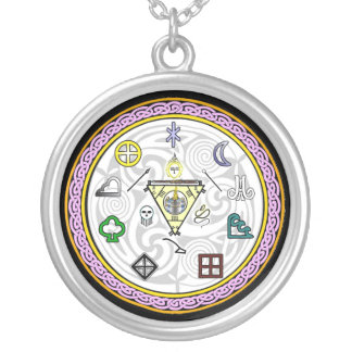 Wheel of Spirits Talisman Silver Plated Necklace