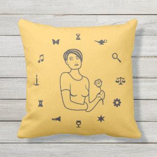 Wheel of Symbols Girl Throw Pillow
