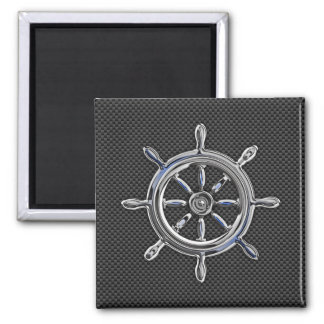 Wheel on Carbon Fiber style Square Magnet