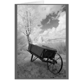 Wheelbarrow and New England landscape Card