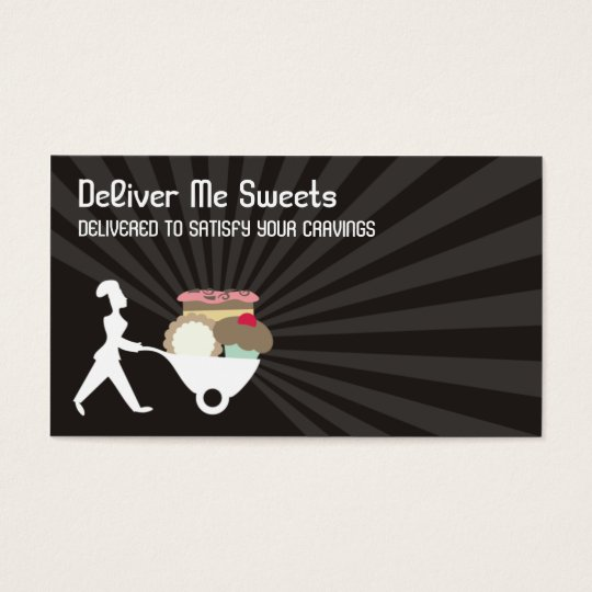 wheelbarrow woman baker giant sweets business c... business card