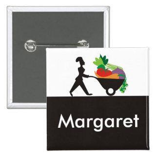 wheelbarrow woman chef giant vegetables name ta... 15 cm square badge