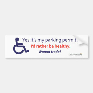 Wheelchair Parking with Invisible Illness Bumper Sticker