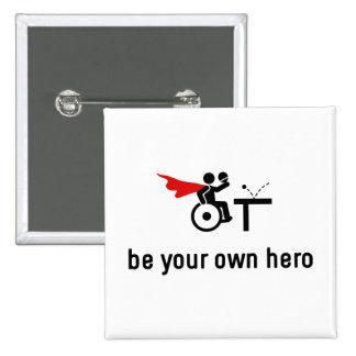 Wheelchair Table Tennis Hero 15 Cm Square Badge