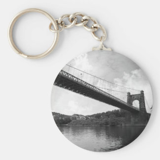 Wheeling Suspension Bridge B&W Basic Round Button Key Ring
