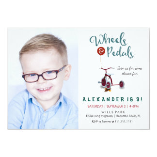 Wheels & Pedals Birthday Invitation