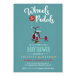 Wheels & Pedals Neutral Baby Shower Card