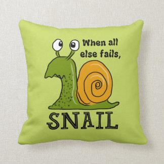 When all else fails, SNAIL (Editable Background) Cushion