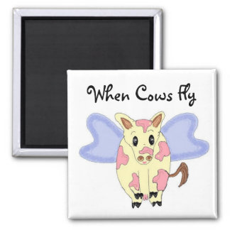 When Cows Fly Refrigerator Magnet