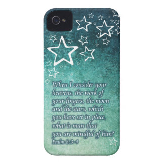 When I Consider the Stars Psalm 8:3-4 Bible Verse iPhone 4 Case-Mate Case