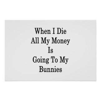 When I Die All My Money Is Going To My Bunnies Poster