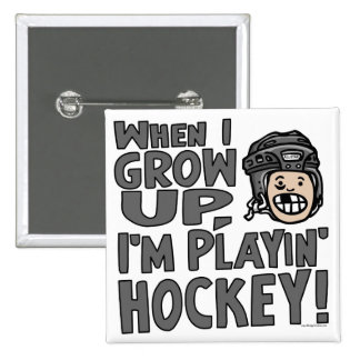 When I Grow Up I m Playing Hockey Black Helmet Buttons