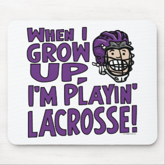 When I Grow Up I'm Playing Lacrosse Purple Helmet Mouse Pad