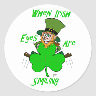 When Irish Eyes are Smiling Round Stickers