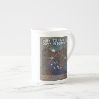 When It's Night-Time Down In Burgundy Teacup Bone China Mug
